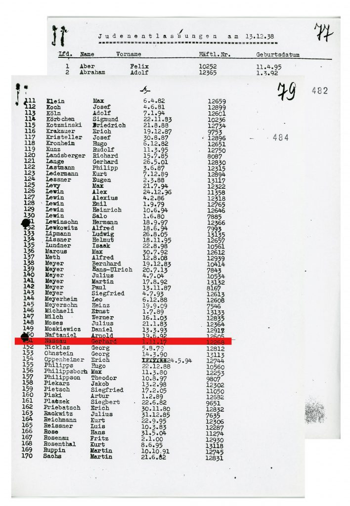 List of the Jewish inmates released from Sachsenhausen on 13th Dec 1938, page 1-2