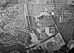 Aerial photograph of Sachsenhausen concentration camp including brickworks, taken by the Allies, 1945