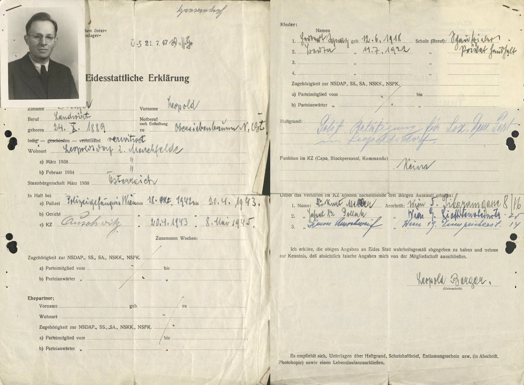 "Files of the Austrian ""Concentration Camp Association"""